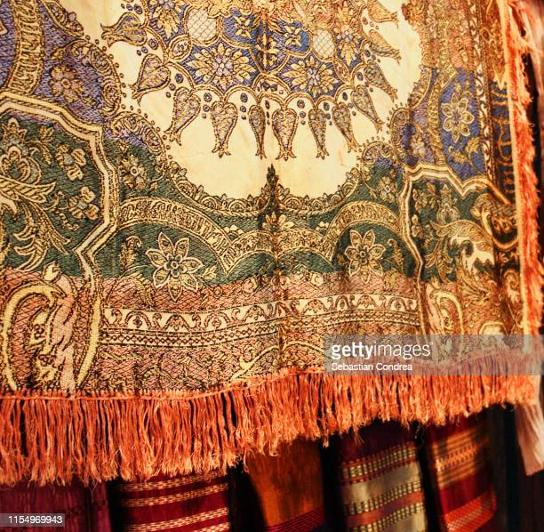 colorful scarves, medina, chefchaouen,street,morocco,north africa - fringing stock pictures, royalty-free photos & images