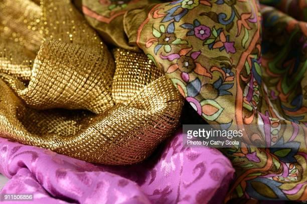 colorful scarves - ヘッドスカーフ ストックフォトと画像