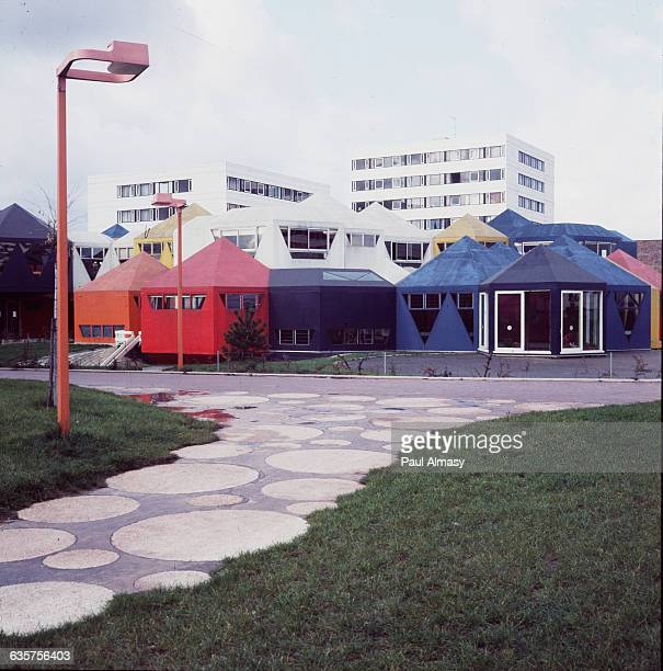 Colorful school buildings in the ville nouvelle the newly developed town of Cergy France