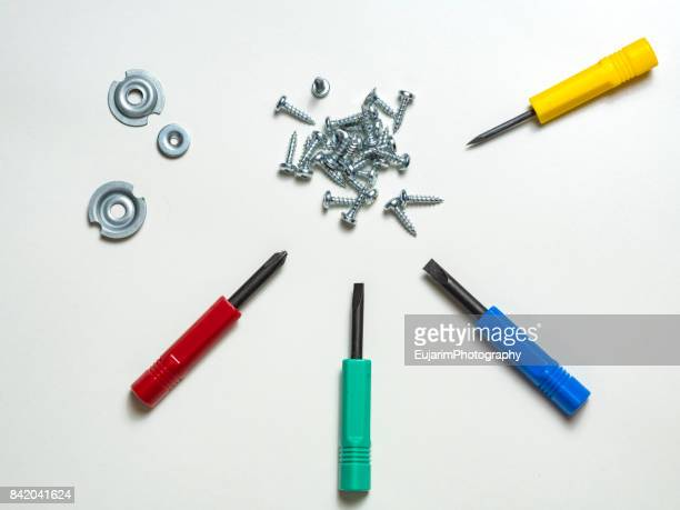 Colorful screwdrivers and different types of screw