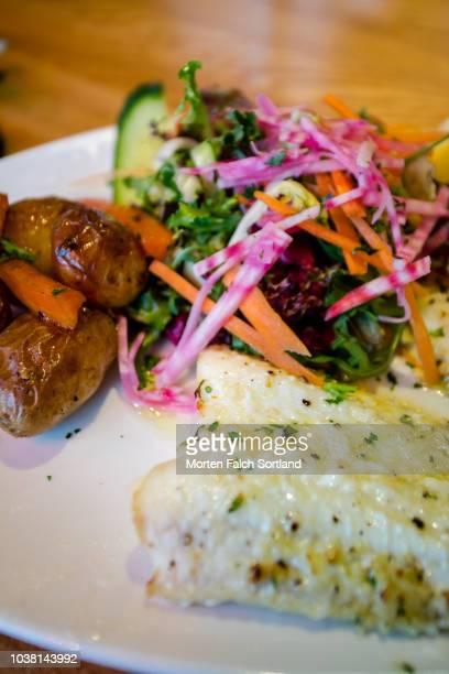 a colorful seafood dish in a restaurant in bergen, norway wintertime - fevereiro imagens e fotografias de stock