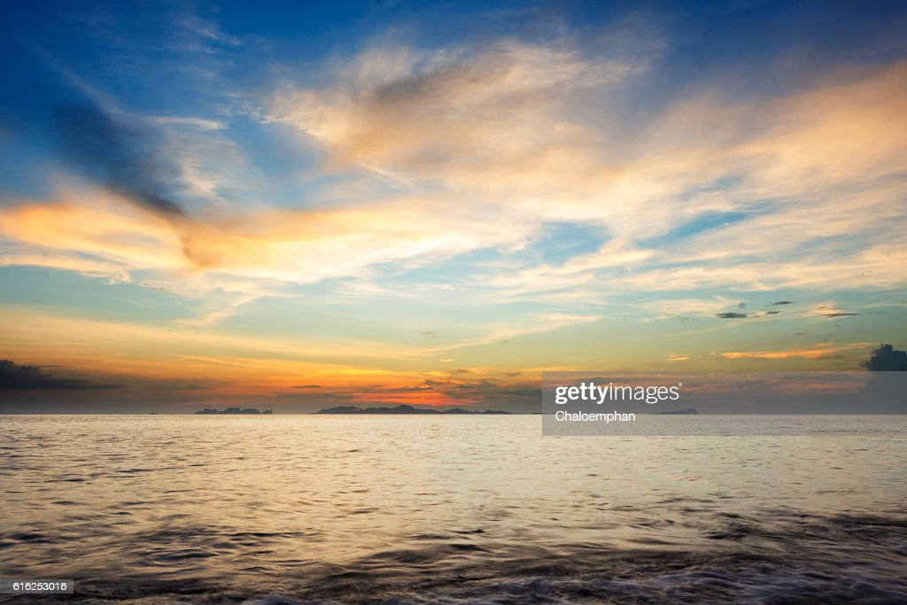 colorful seascape sunset : Foto de stock