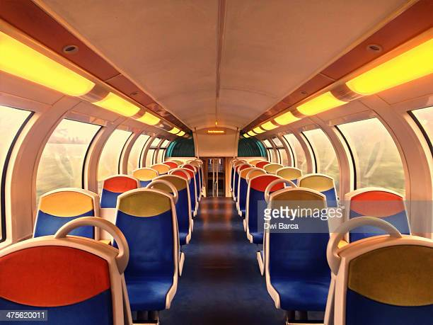 Colorful seats on a wagon train