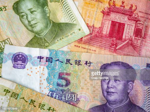 colorful selection of chinese fiat bank notes pre central bank digital currency launch cbdc - 金融政策 ストックフォトと画像