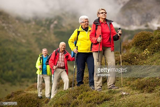 colorful senior hiking group