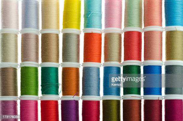 colorful sewing cotton rolls