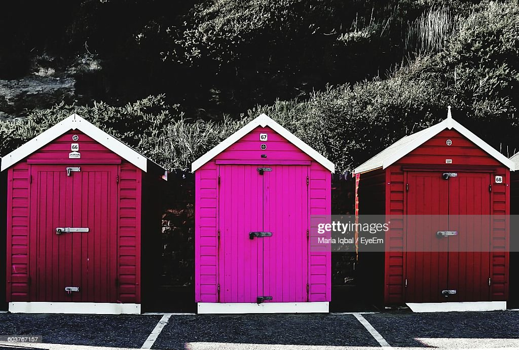 Colorful Sheds In Backyard Stock Photo - Getty Images