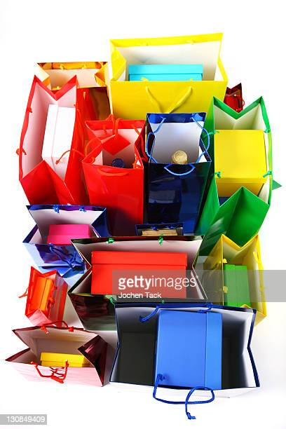 Colorful shiny paper bags and gift boxes