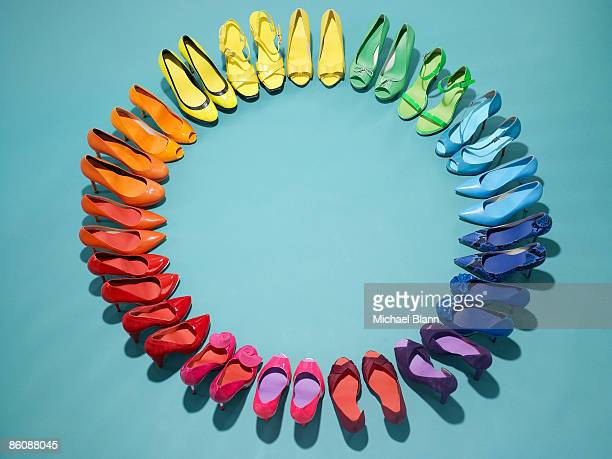 Colorful shoes form a color wheel