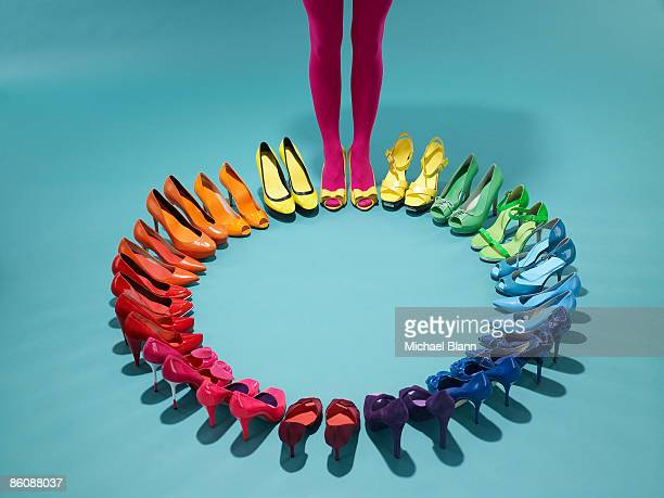 colorful shoes form a color wheel with legs - talons hauts photos et images de collection