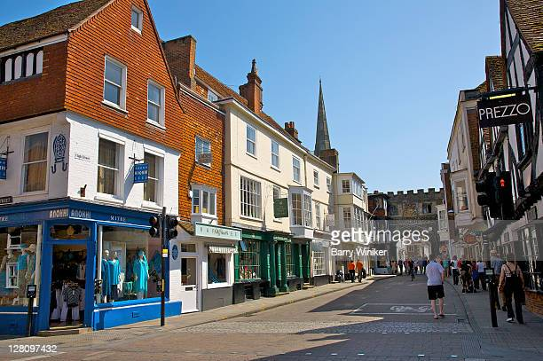 colorful shops and buildings on high street, salisbury, united kingdom - high street stock pictures, royalty-free photos & images