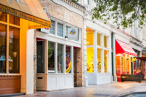 Colorful Shops and Restaurants in Downtown Austin Texas USA 628155348