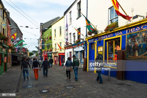 Colorful shops in the Latin quarter of Galway City, County Galway, Ireland.