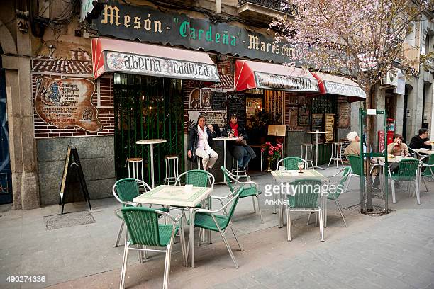 colorful side walk tavern in madrid - tapas stock photos and pictures