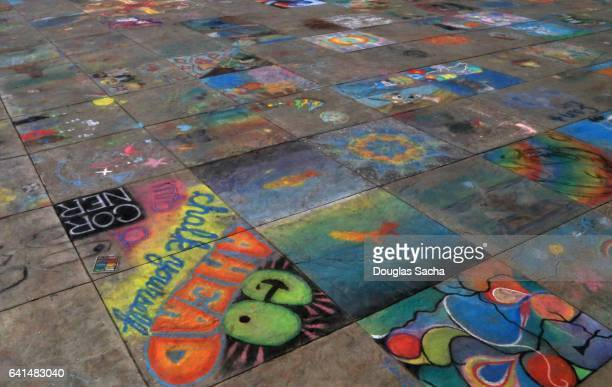 colorful sidewalk chalk art - chalk art equipment stock pictures, royalty-free photos & images