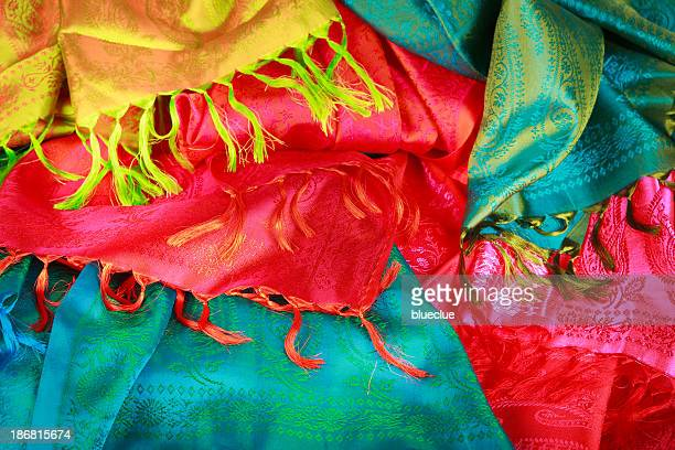 Colorful silk fabrics