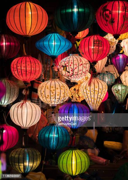 colorful silk lanterns - chinese lantern lily stock pictures, royalty-free photos & images