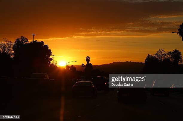 Colorful Sky and Busy Highway during Sunset, Los Angeles, California, USA