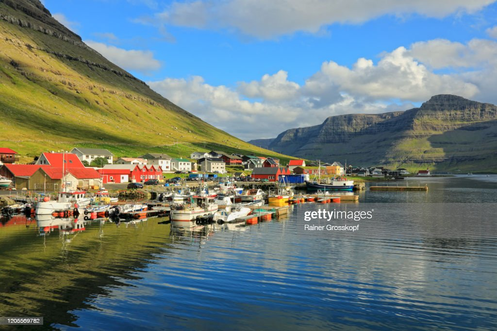 A colorful small harbor village on the shore of a fjord surrounded by grassy mountains : Stock-Foto
