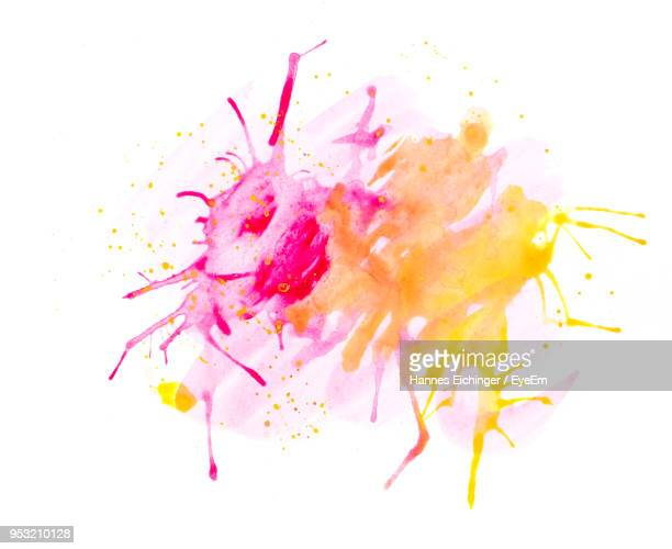 Colorful Smudged Paint On White Background