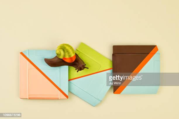 Colorful snail and computer zip drives