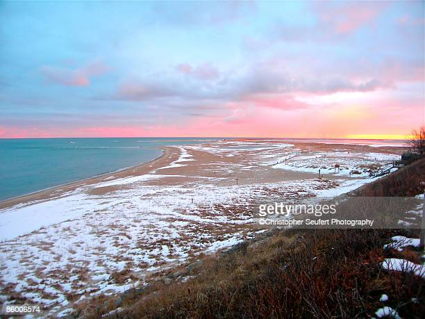 Colorful Snow Squall on a Winter Beach