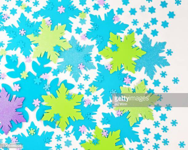 Colorful snowflakes on a white background