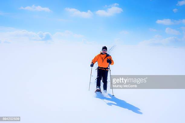 colorful snowshoer on pristine snow - murray mccomb stock pictures, royalty-free photos & images