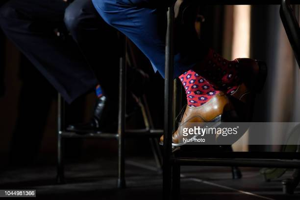 Colorful socks of Justin Trudeau during an armchair conversation between Prime Minister Justin Trudeau and Ahmed Hussen the Minister of Immigration...