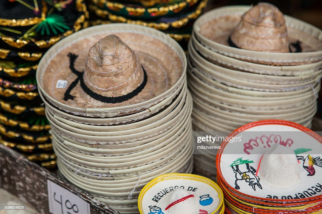 Colorful sombreros for sale at a market in Mexico. : Stock Photo