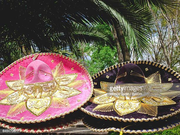 Colorful Sombreros For Sale At Market Stall