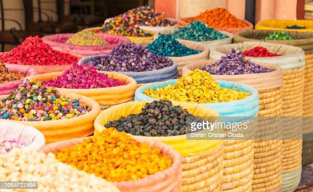 colorful souks on marrakesh, morocco - souk stock pictures, royalty-free photos & images