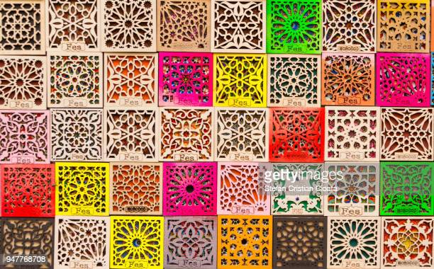 colorful souvenirs in fez, morocco - cultures stock pictures, royalty-free photos & images