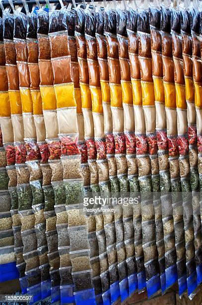 Colorful Spice Packs Hang in Egyptian Souk