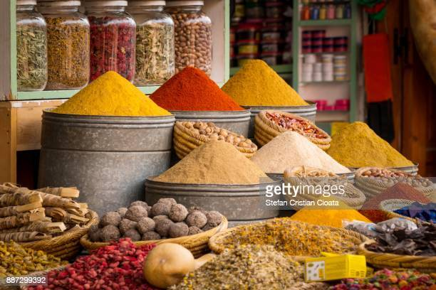 Colorful spices for sale in Marrakesh