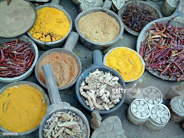 Colorful spices on a market place in Rajastha,India