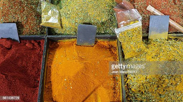 colorful spices - jean marc payet stockfoto's en -beelden