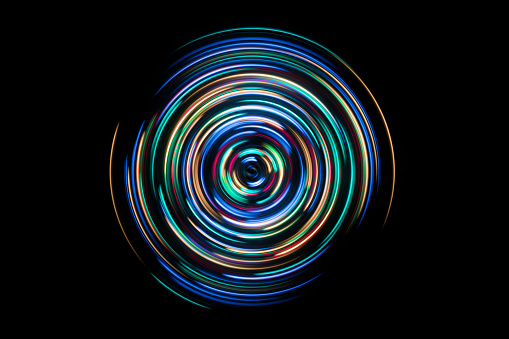 Colorful Spinning Light Trails - gettyimageskorea