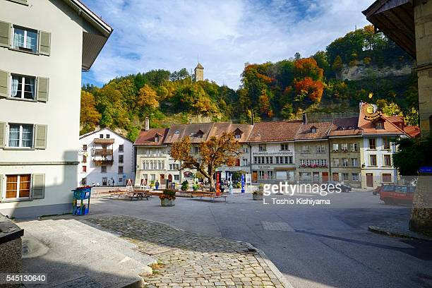 colorful square in fribourg, switzerland - フリブール州 ストックフォトと画像