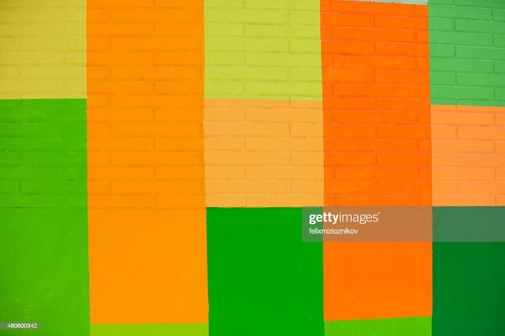 Colorful square shapes painted on the wall : Stock Photo
