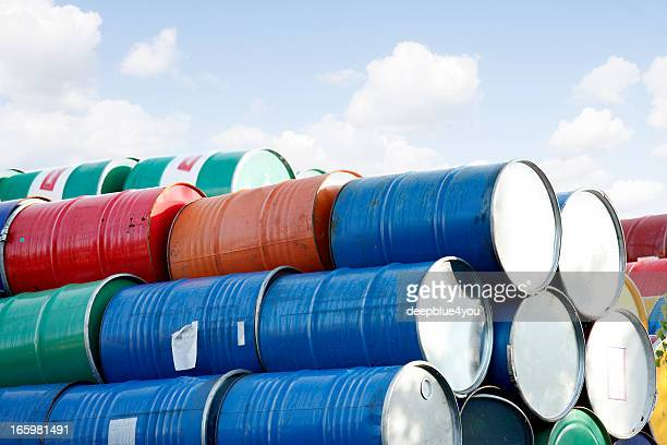 colorful stacked Barrels in front of the sky