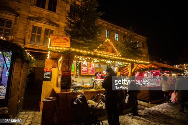 Colorful stand at the Christmas Market in Erlangen Bavaria Germany
