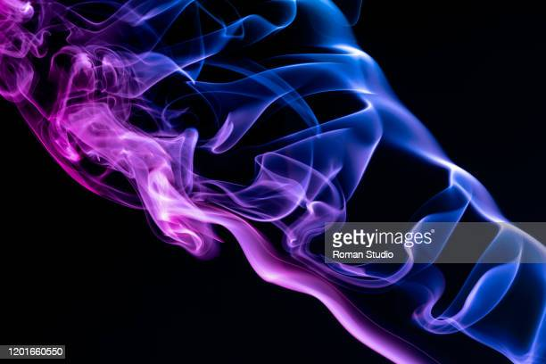 colorful steam on a black background. vaporizer smoke. abstract background. - toxic substance stock pictures, royalty-free photos & images