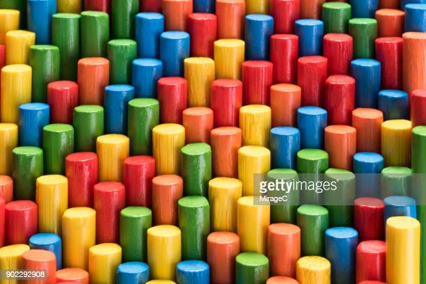 colorful sticks stacking - miragec stock pictures, royalty-free photos & images