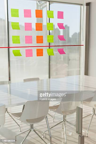 Colorful sticky notes on office window