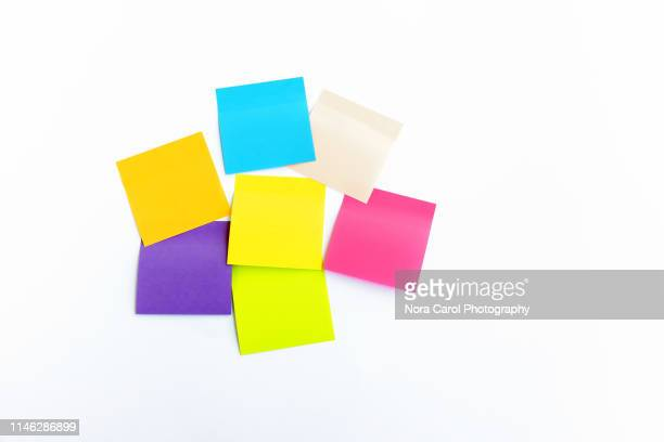 colorful sticky notes on white background - post it stock pictures, royalty-free photos & images