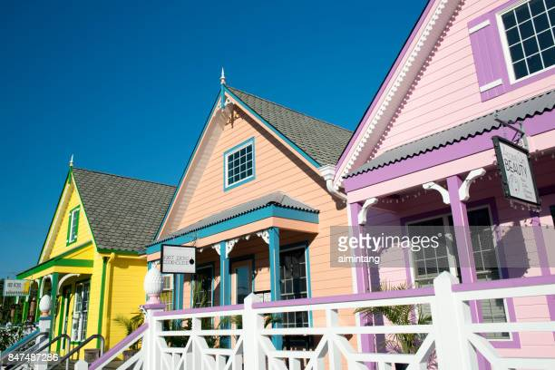 colorful stores on sunset boulevard in west cape may - cape may stock pictures, royalty-free photos & images