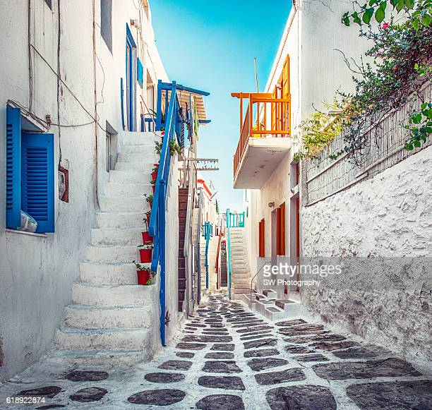 colorful street of mykonos, greece - greece stock pictures, royalty-free photos & images