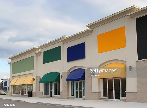 Colorful Strip Mall Store Exteriors