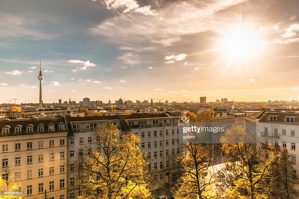colorful sunny Berlin cityscape seen from tower of the zionskirche : Stock Photo
